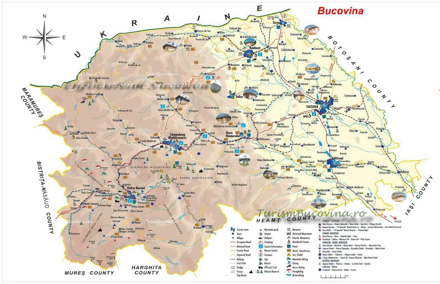 Harta Turistică A Bucovinei Harta Turistică A Județului Suceava