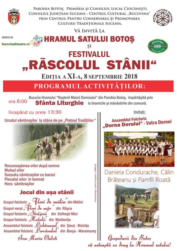 Festivalul Zilele Răscolul Stânii sau Răscolitul Oilor - Ciocănești, Bucovina - Afiș, dată, program complet