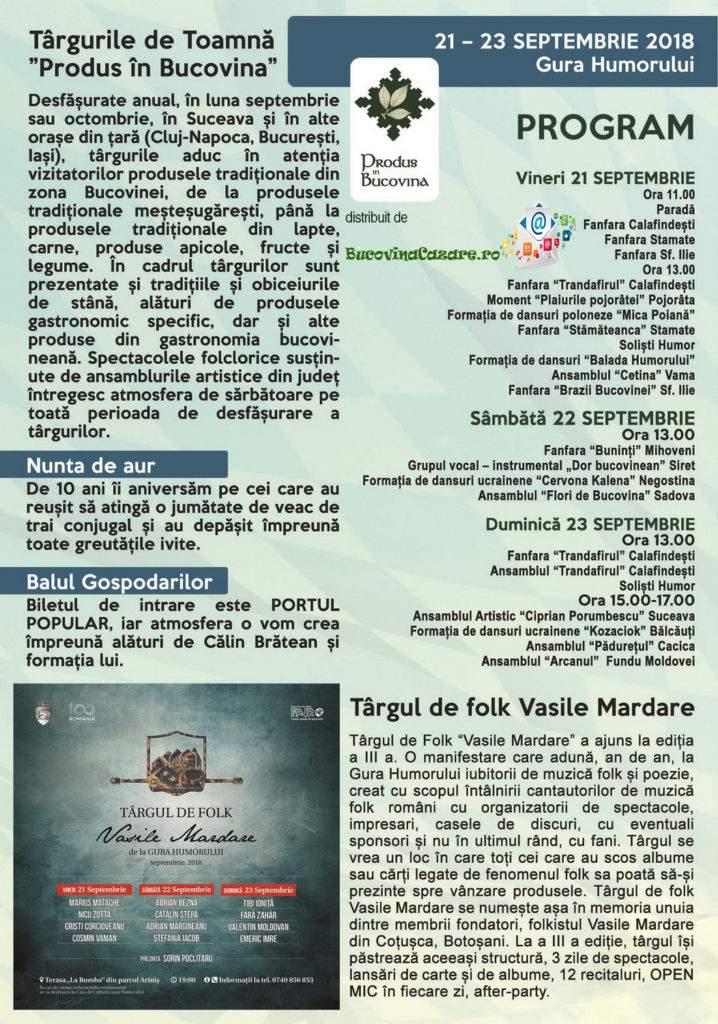 Festivalul Zilele Humorului sau Oktoberfest în Est - Gura Humorului, Bucovina - Afiș, dată, program complet 3