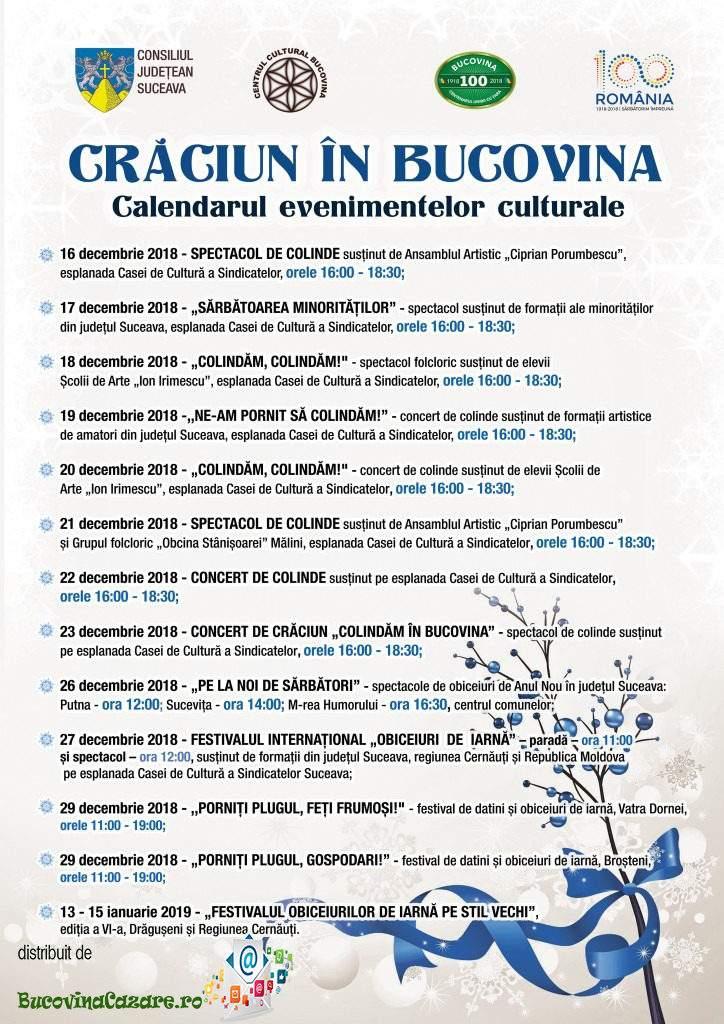 Program manifestări Crăciun în Bucovina 2018 - Suceava, Bucovina - Afiș, dată, program complet